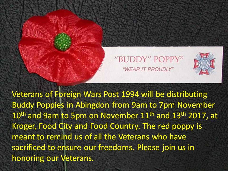 Abingdon Police Department Buddy Poppies Veterans Day 2017