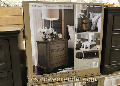 Costco 1900065 - Universal Broadmoore Furniture Nightstand with Power: a perfect spot for your phone, lamp, or alarm clock
