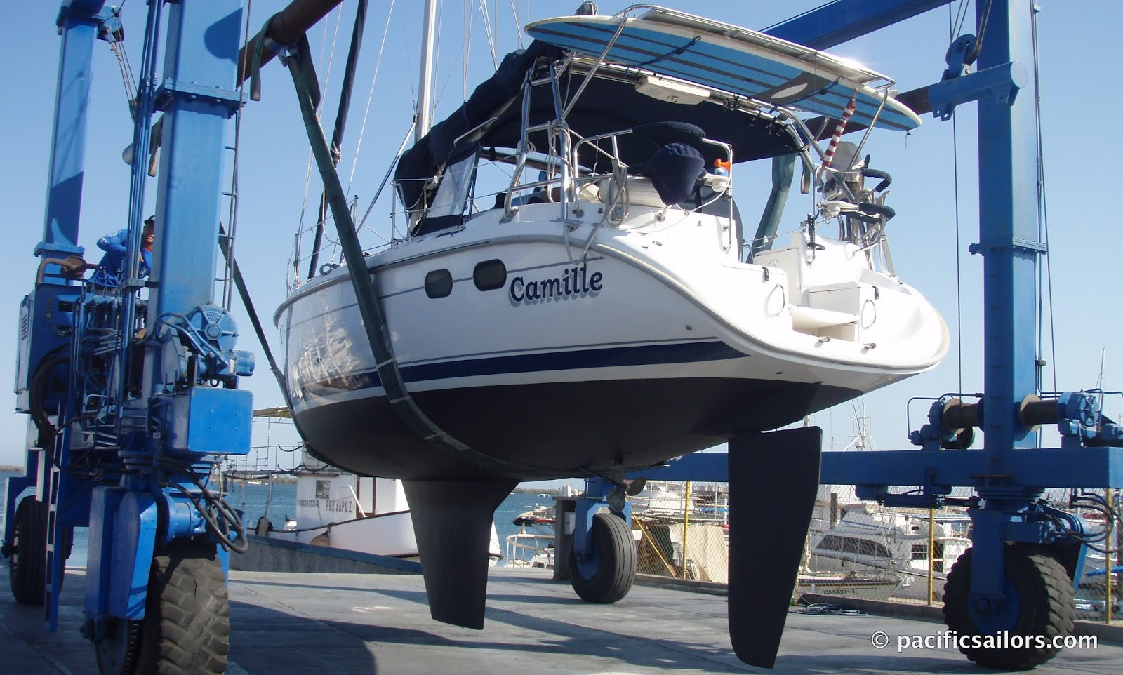 54a4731c69 We are back in the water after four days in the boatyard. It feels good to  be floating again. Every night when the Coromuels blew the boat would  shudder and ...