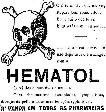 Propaganda antiga do depurativo Hematologias com um poema em diálogo com a morte