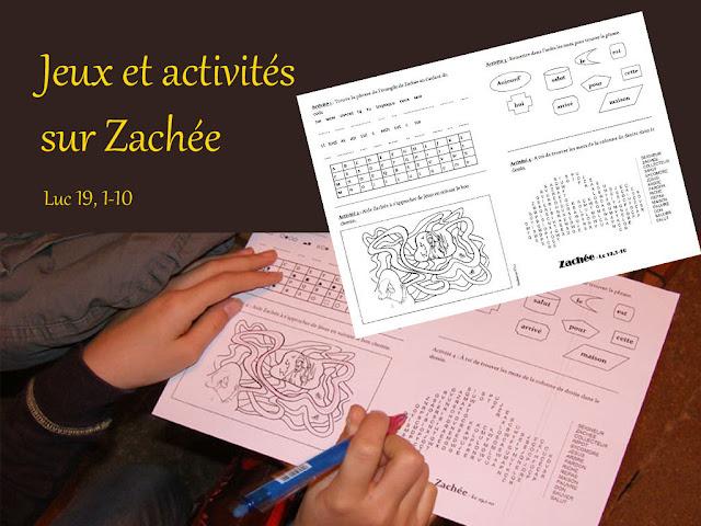 Jeux et activités caté sur Zachée