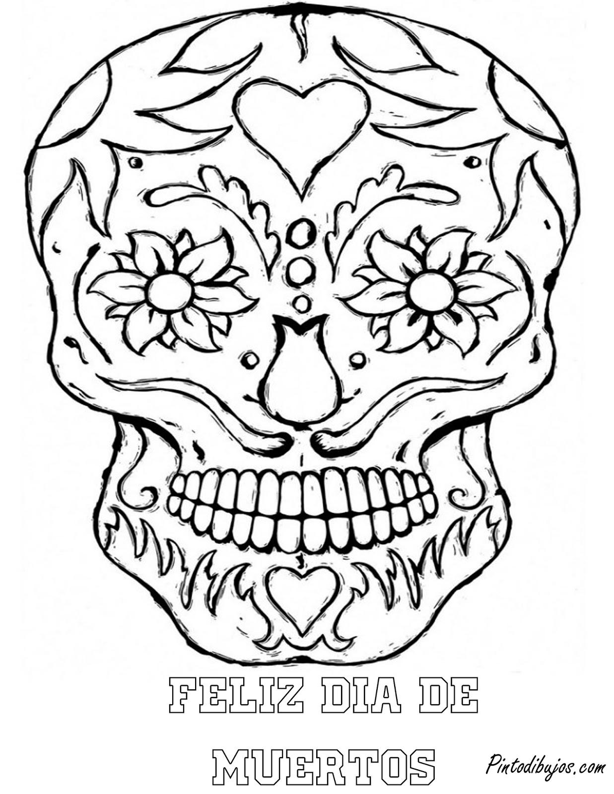 Lujoso Día Del Cráneo Muerto Para Colorear Regalo - Enmarcado Para ...