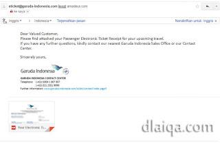 revisi tiket dikirim via email