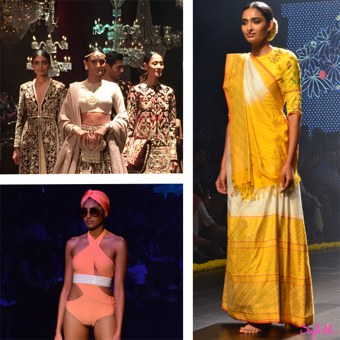 A model wears a Gaurang saree, a Shivan and Narresh swimsuit and Sabyasachi collection at Lakme Fashion Week in Mumbai India