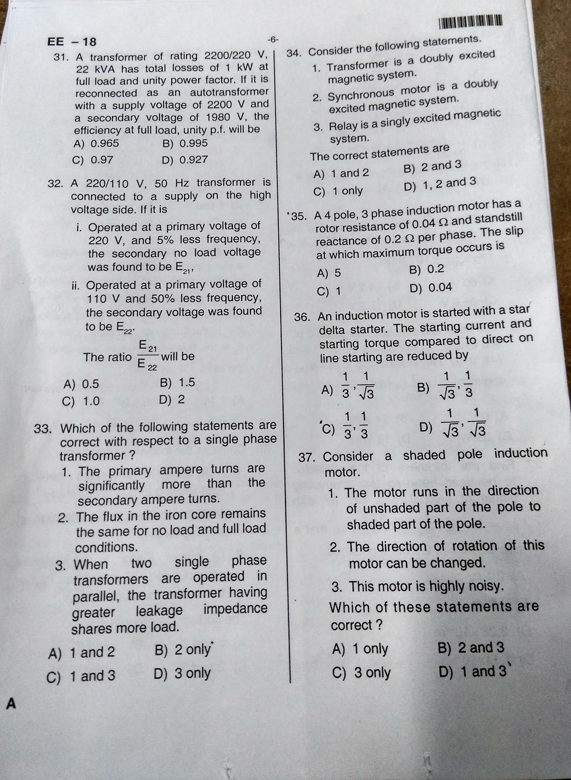 SPDCL AE Exam Question paper 25-3-2018 - TECH DOSTI