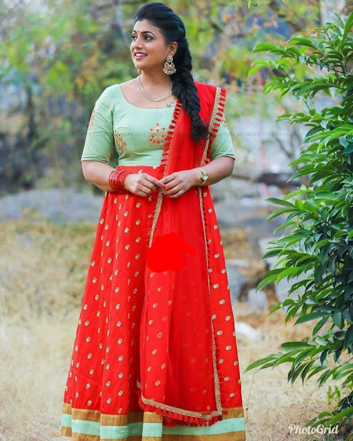 Roja Red Floor Length Frock