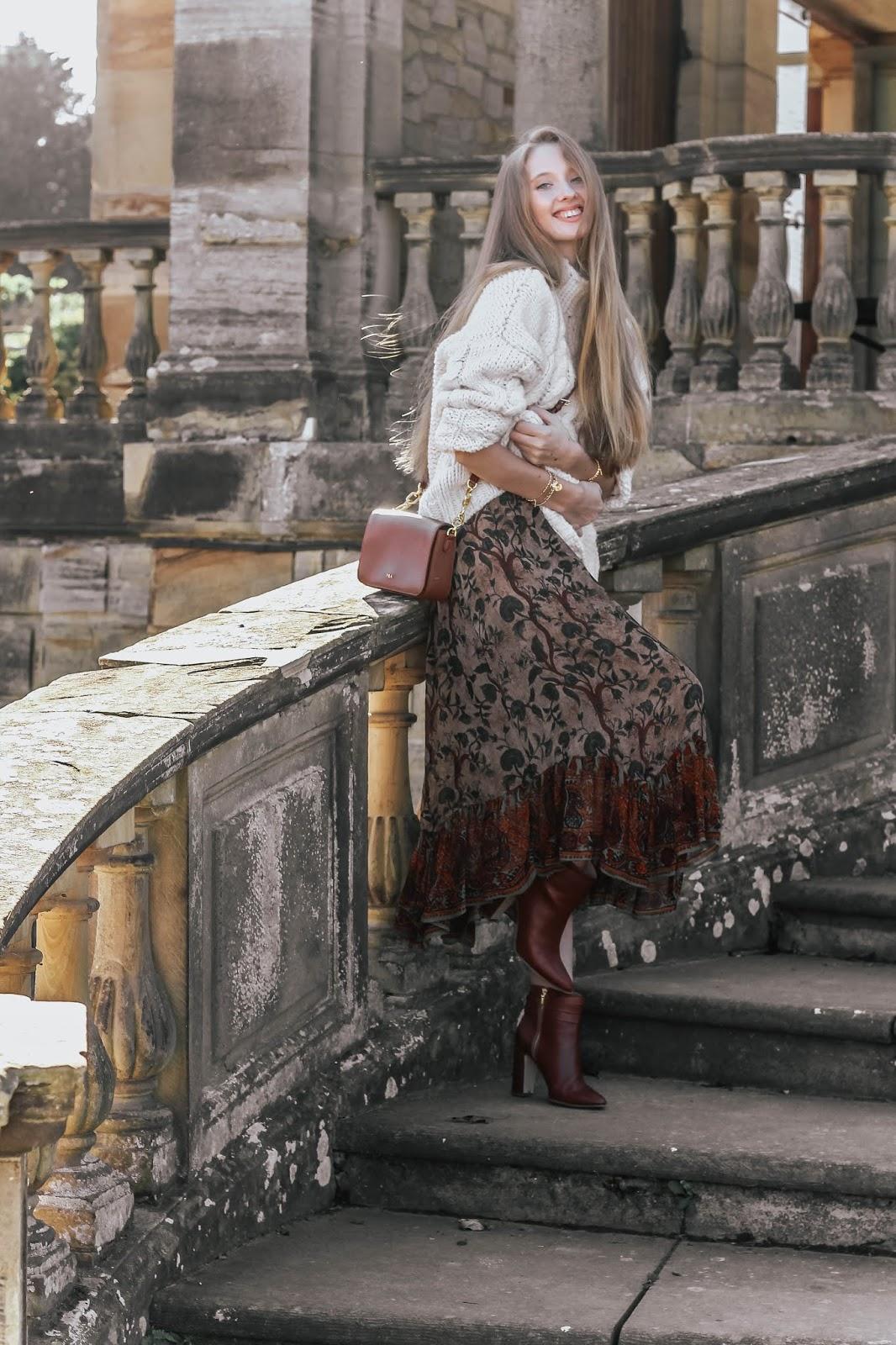 Zara Frilled brown Floral Midi Skirt 2018