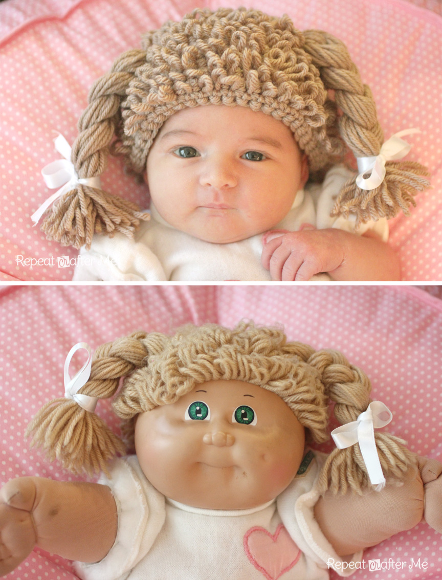Crochet Cabbage Patch Doll Inspired Hat - Repeat Crafter Me 3a2bcfe8b82