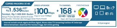 Paket First Media Combo Maxima X1 4K HD (Wifi)