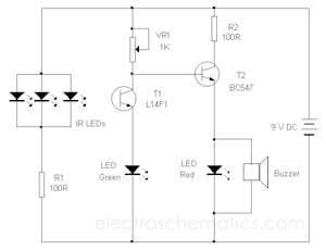Circuit Diagram: Infrared beam barrier proximity sensor