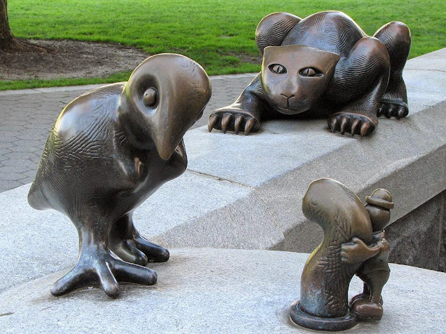 Cat, Bird & Worm, The Real World by Tom Otterness, Battery Park City, New York