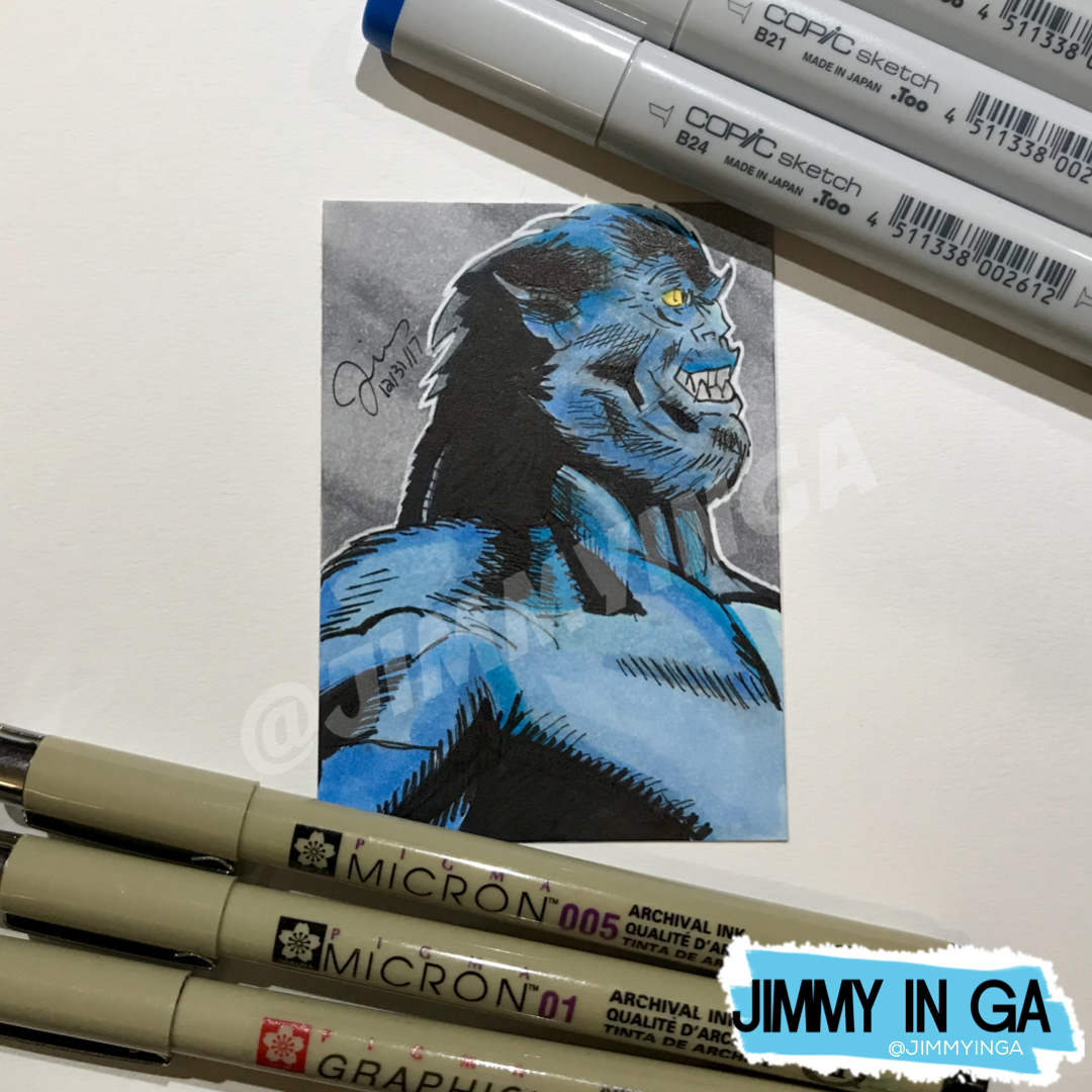 "Beast - Copic Markers on 2.5"" x 3.5"" Sketch Card"