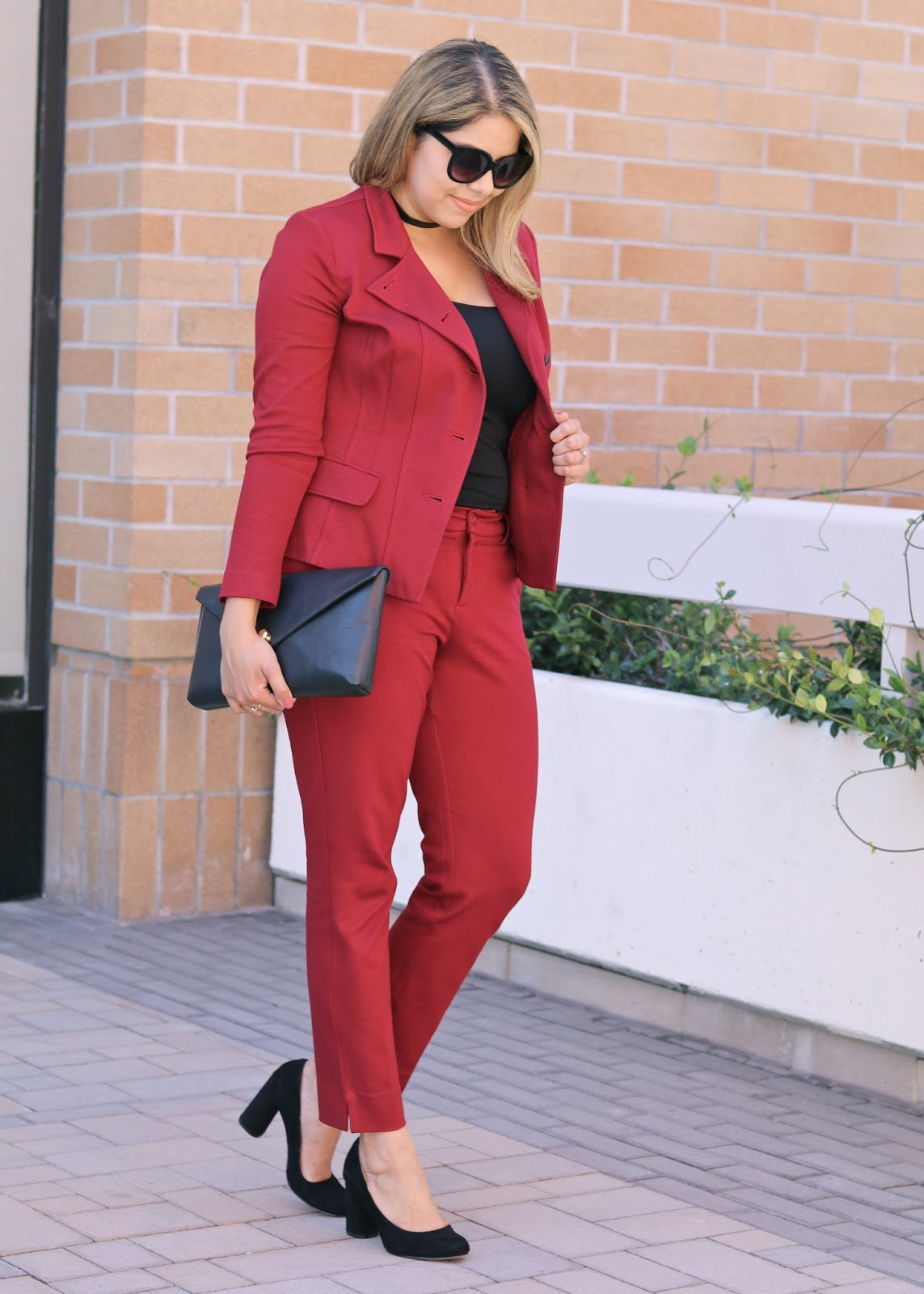 black chunky heels, black blocked heel shoes, women burgundy suit, linell ellis black clutch