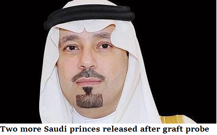 Two more Saudi princes released after graft probe