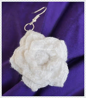 Irish lace ear ring, Crochet Irish lace pattern