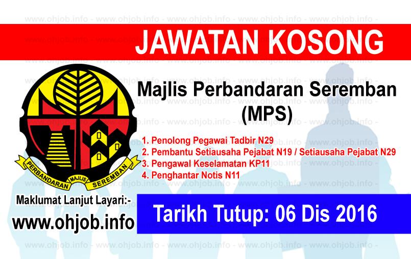 Jawatan Kerja Kosong Majlis Perbandaran Seremban (MPS) logo www.ohjob.info disember 2016