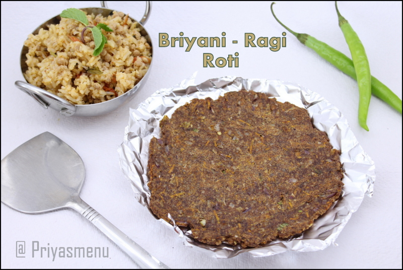 Priyas menu yum yum yummy food for food lovers biryani ragi as i had mentioned in my yesterdays post about my leftover dishes using soya granules brown rice biryani posting my second recipe biryani roti using forumfinder Choice Image