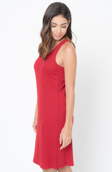 Buy Now Red Scoop Neck Ribbed Tank Dress Online -Final Sale- $20 -@caralase.com