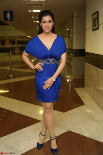 Mannara Chopra in Short Blue Dress at Rogue Movie Teaser Launch 1st March 2017 103.JPG
