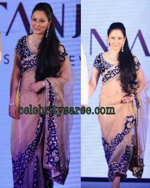 Manyata Dutt In Shimmering Velvet Border Sari