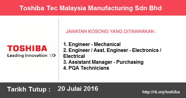 Jawatan Kosong di Toshiba Tec Malaysia Manufacturing Sdn Bhd
