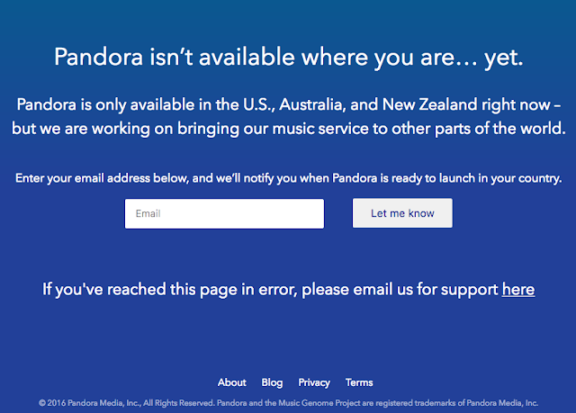 Pandora is only Available in US and New Zealand for now