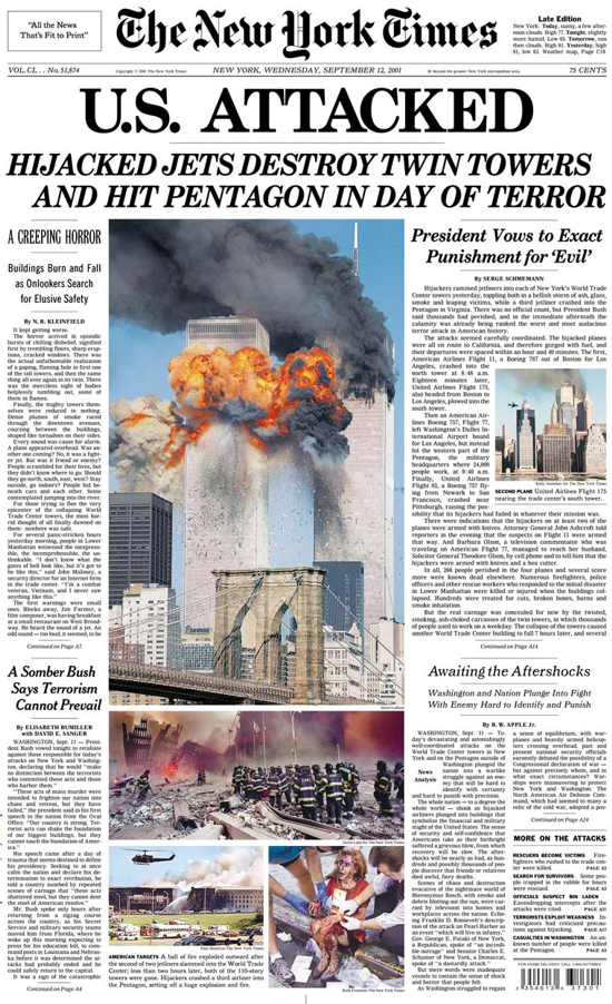 The New York Times, Sep. 12, 2001