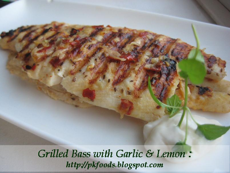 Pakistani Food Recipes Grilled Bass Fish With Garlic Lemon