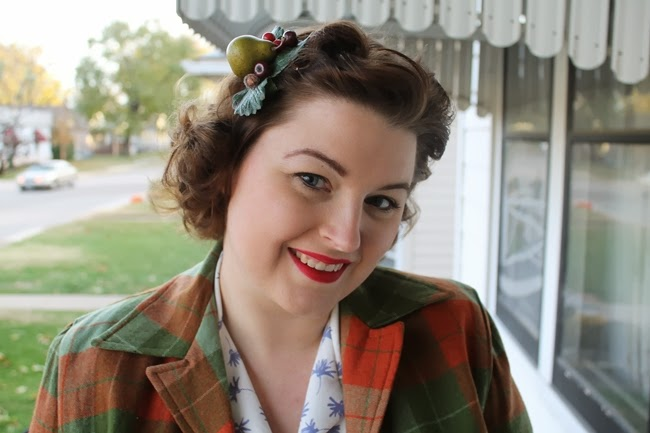 vintage pendleton 49er jacket with pin curls and Belle Blossoms holiday fruit hair clip