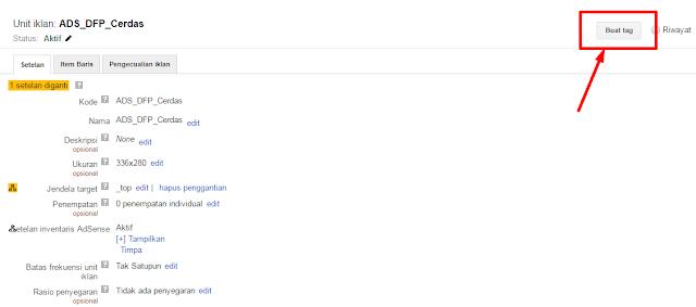 cara genrate tag iklan dfp google