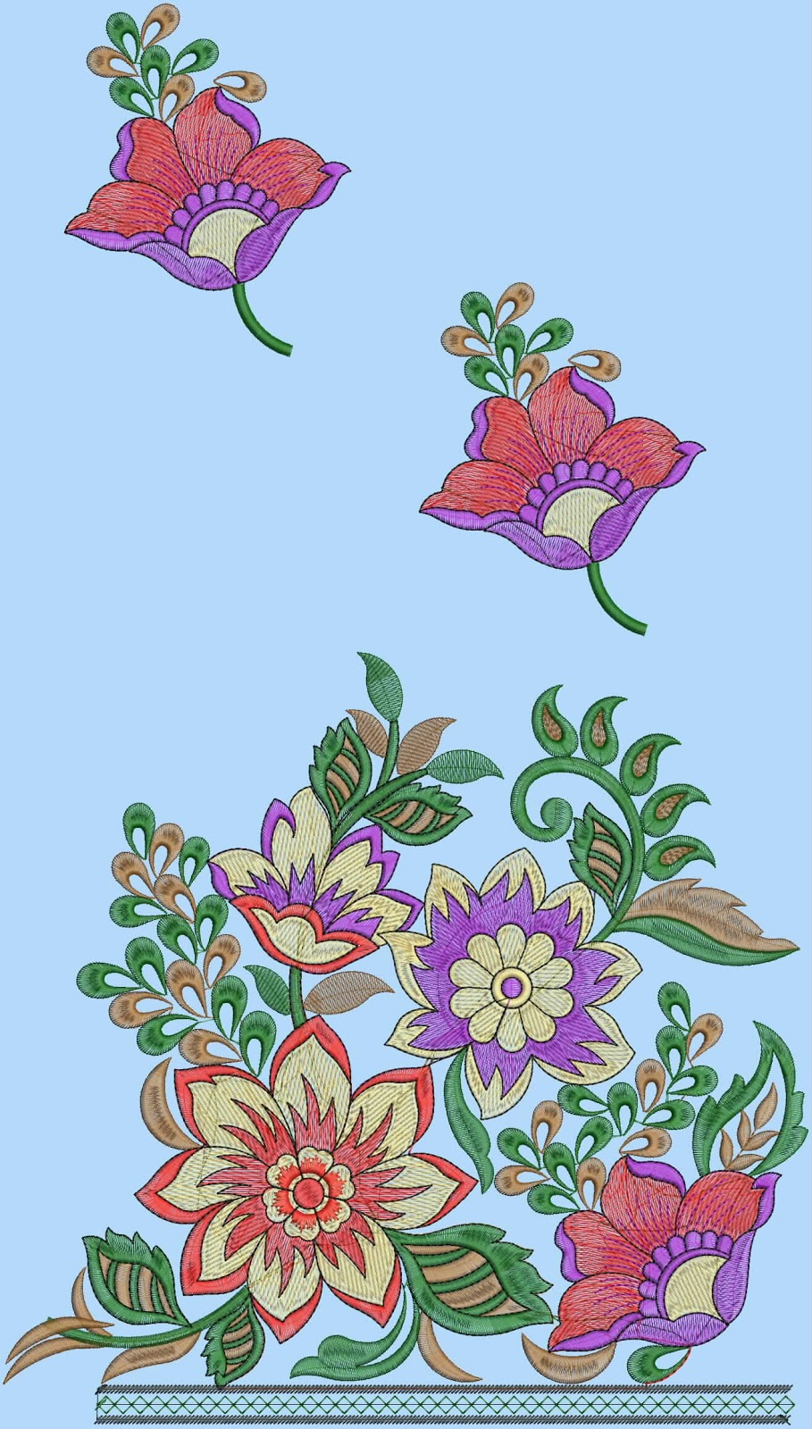 Embdesigntube floral patchwork embroidery t shirts designs