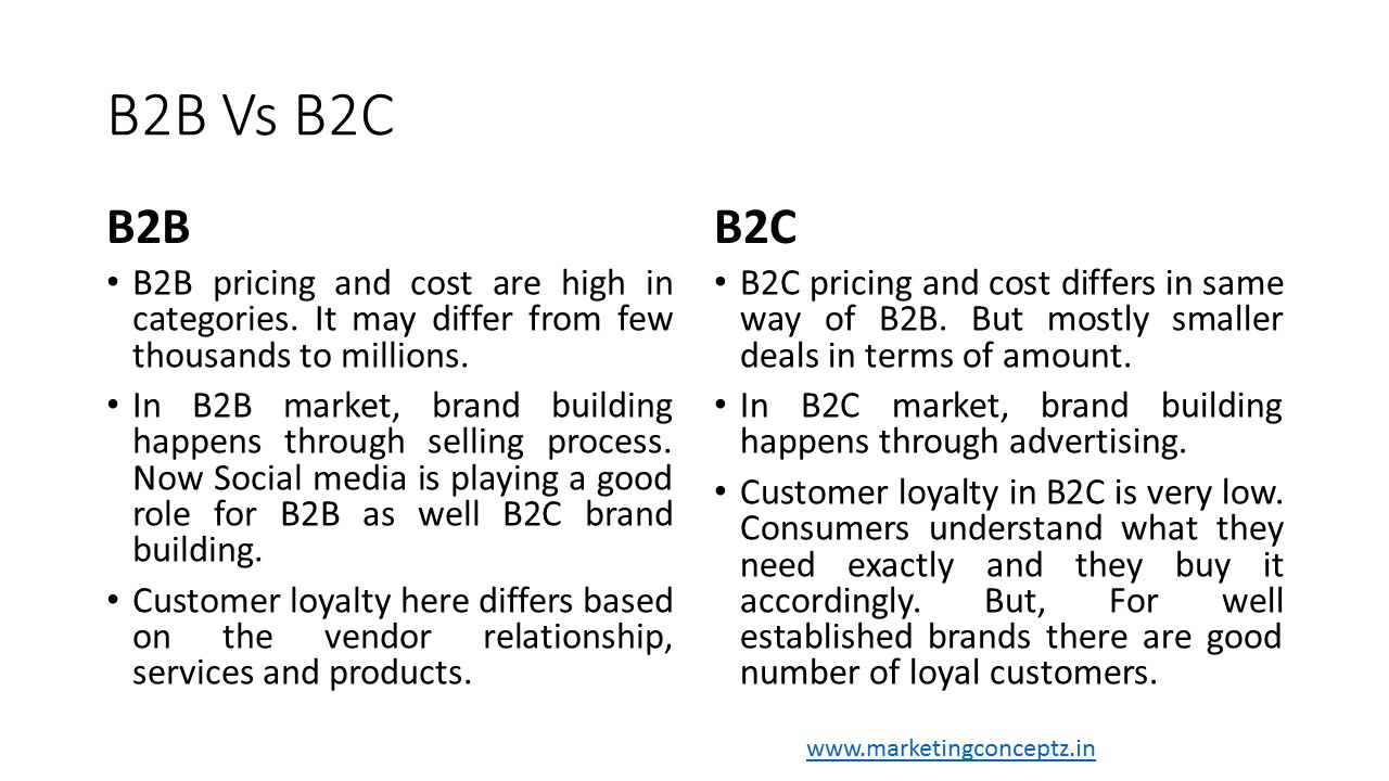 differences between the b2b and b2c 4 differences between b2b and b2c marketing some people think that the only difference between b2b and b2c marketing is scale.