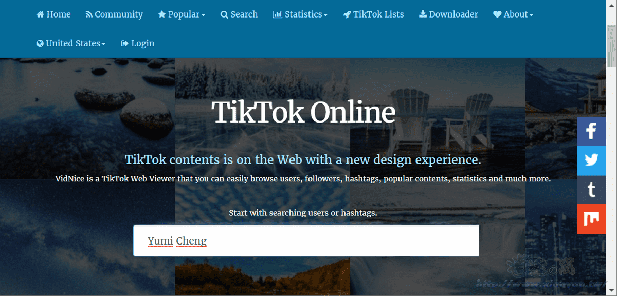 Vidnice 網頁版 TikTok 抖音檢視器,電腦追蹤用戶,觀看&下載影片 - 逍遙の窩
