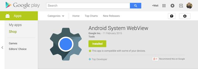 Google Rilis Android WebView untuk Android lollipop