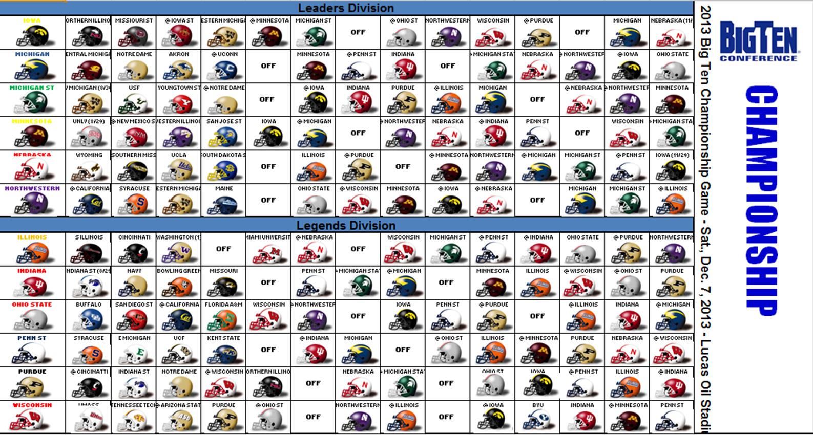 Bowl Schedule 2017 18 >> Excel Spreadsheets Help: 2013 NCAA College Football Helmet Schedule Spreadsheet