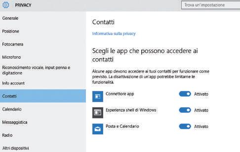 come impostare app che possono accedere ai contatti in Windows 10