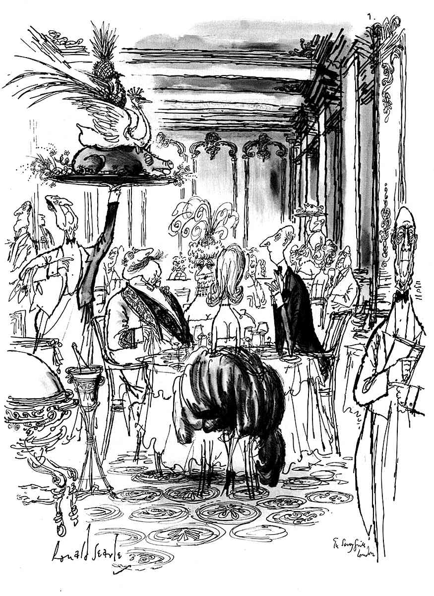Ronald Searle illustration dining out
