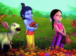 Animated Baby Krishna With Radha  Wallpaper