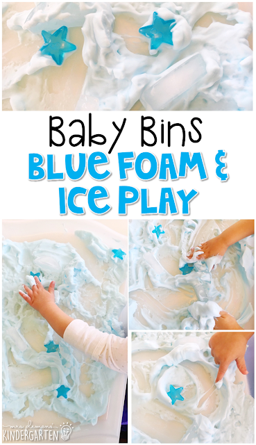 This blue foam & ice sensory tray is great for a blue theme and is completely baby safe. These Baby Bin plans are perfect for learning with little ones between 12-24 months old.