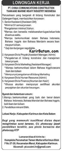 Lowongan Kerja PT. China Communication Construction