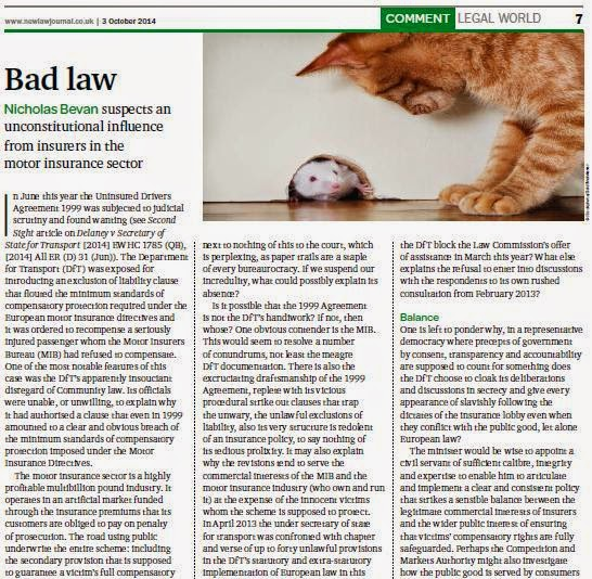 Nicholas Bevan, Bad Law, New Law Journal article 3 October 2014