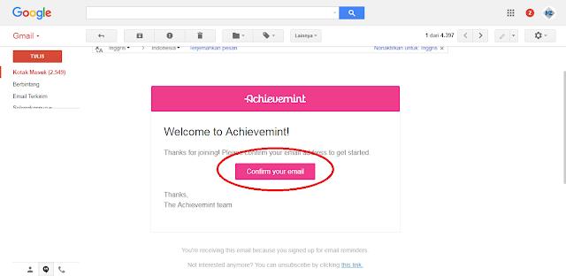 cara mudah verifikasi email di situs Achievemint