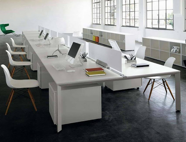 best white modern office furniture arrangement design ideas