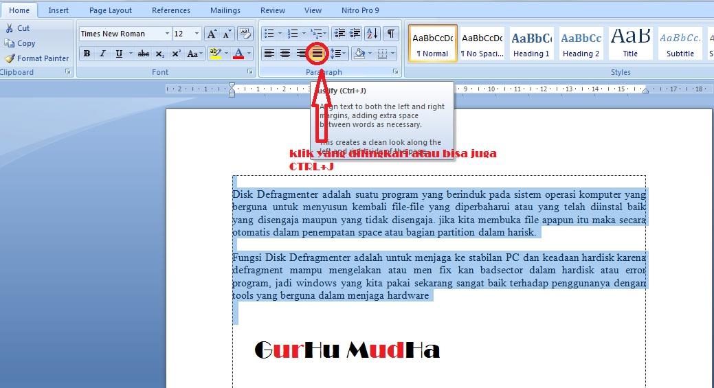 Cara Membuat Tulisan Rata Kanan Kiri (Justify) pada
