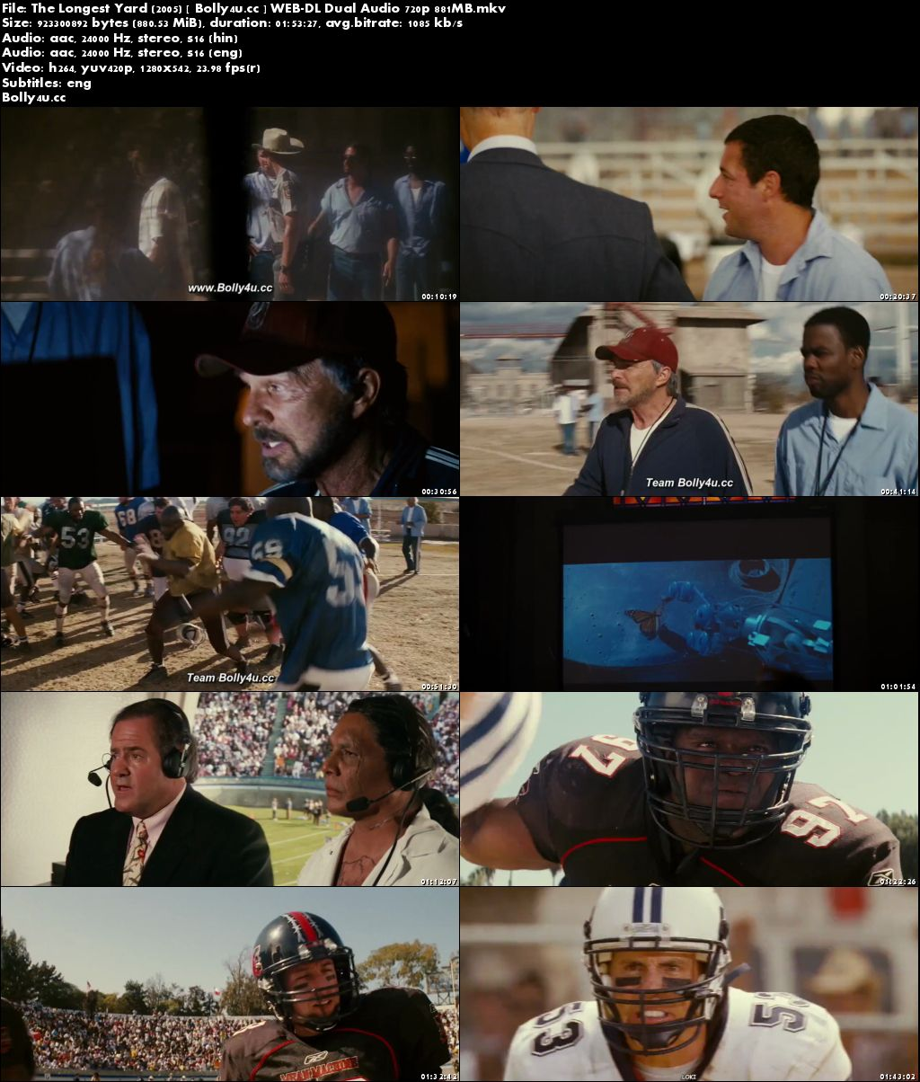 The Longest Yard 2005 WEB-DL 350MB Hindi Dual Audio 480p Download