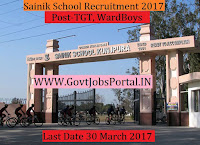 Sainik School Recruitment 2017–TGT, Ward Boys & Horse Riding Instructor