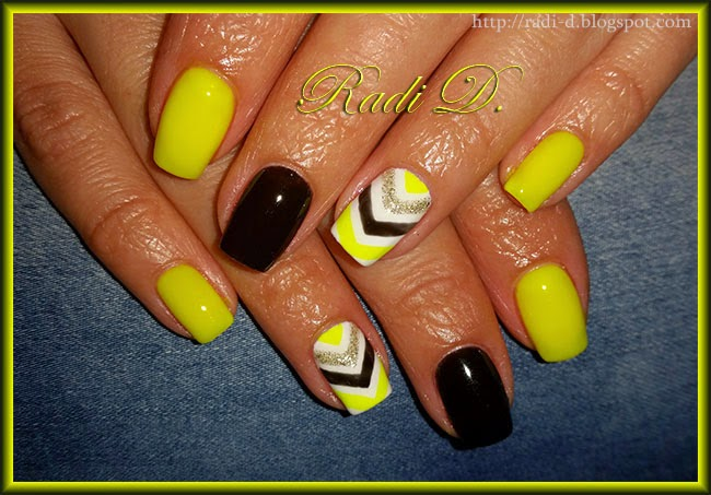 It`s all about nails: Neon yellow & black- gel polish