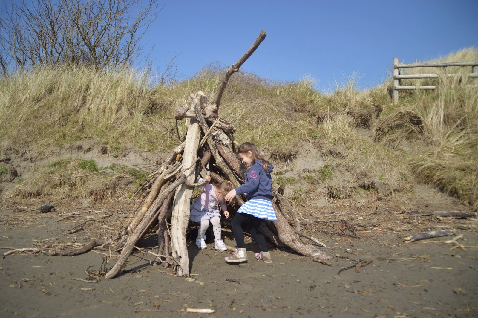 , Walking and Exploring Driftwood Dens at Newport Sands,  Pembrokeshire