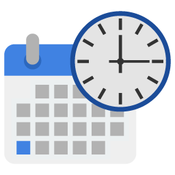 Preview of date and time, time, custom, personalization, folder icon