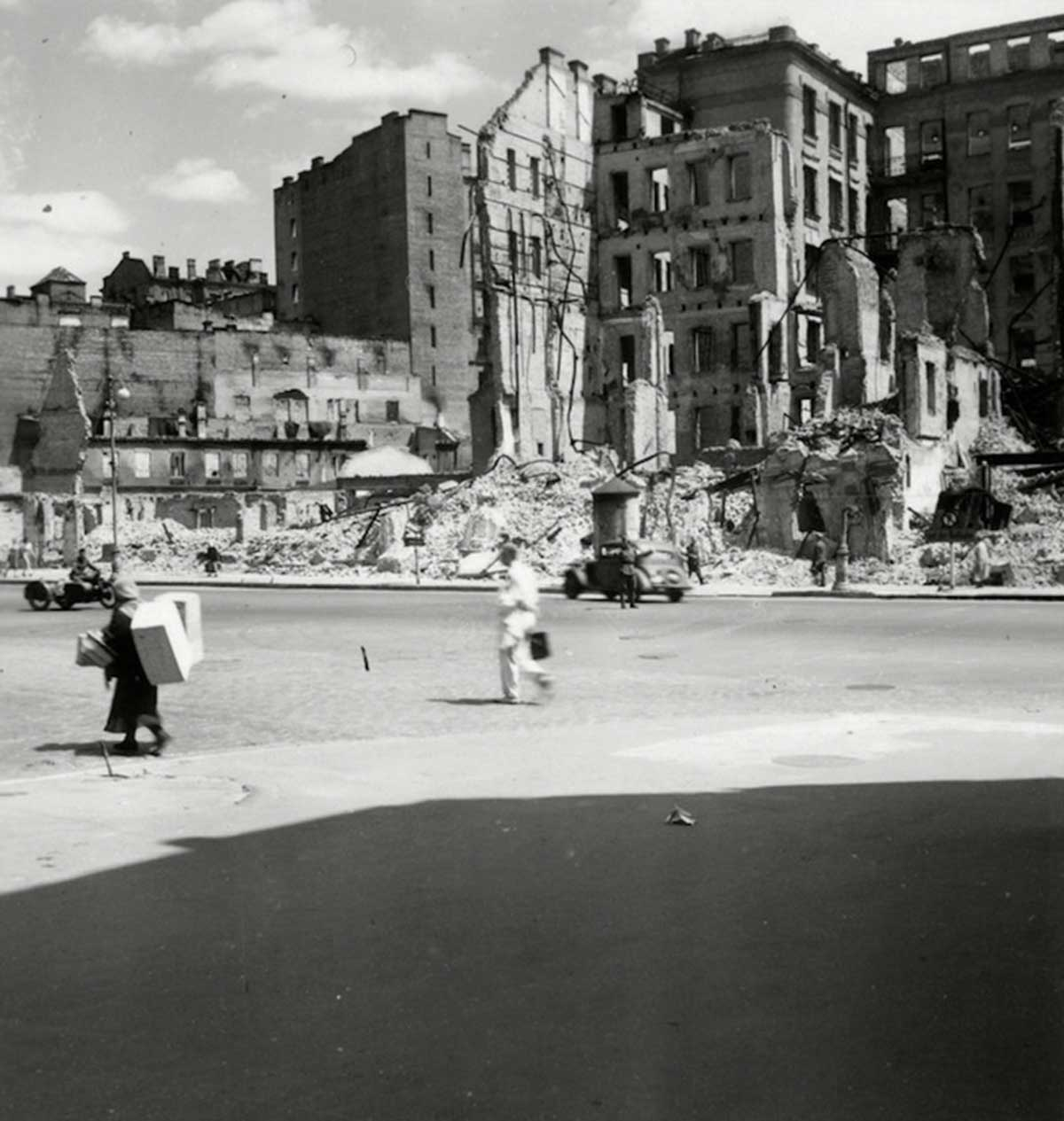 Buildings on ruins. Ukraine, 1943.